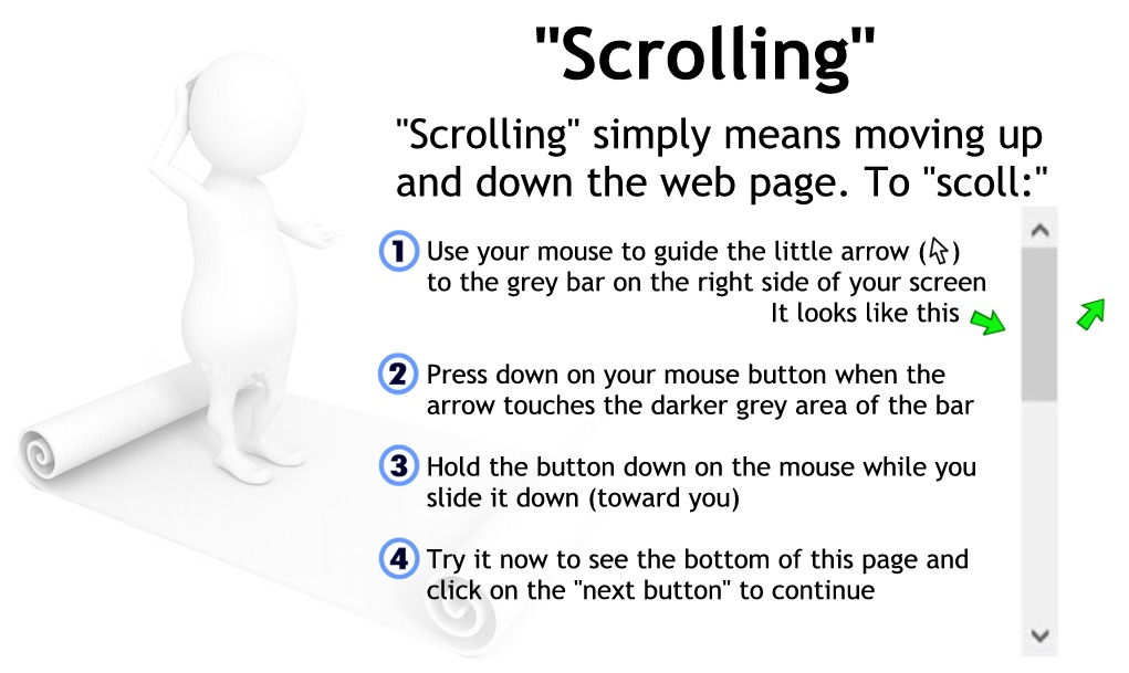 Scrolling is moving up and down the page