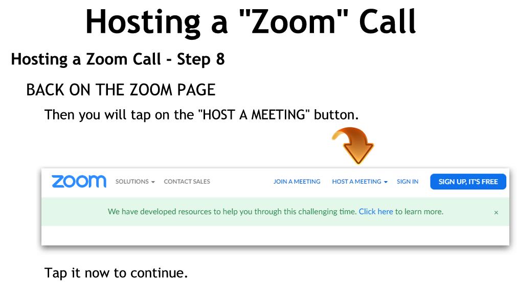 Hosting a Zoom Call - Step 8