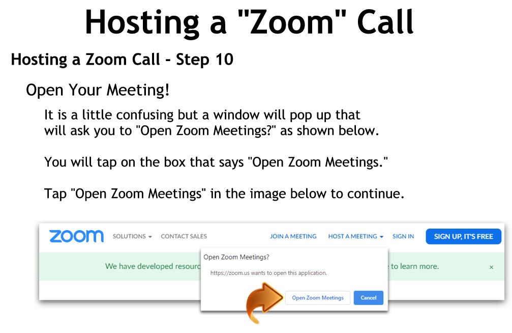 Hosting a Zoom Call - Step 10