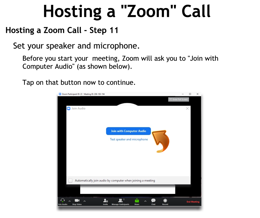 Hosting a Zoom Call - Step 11
