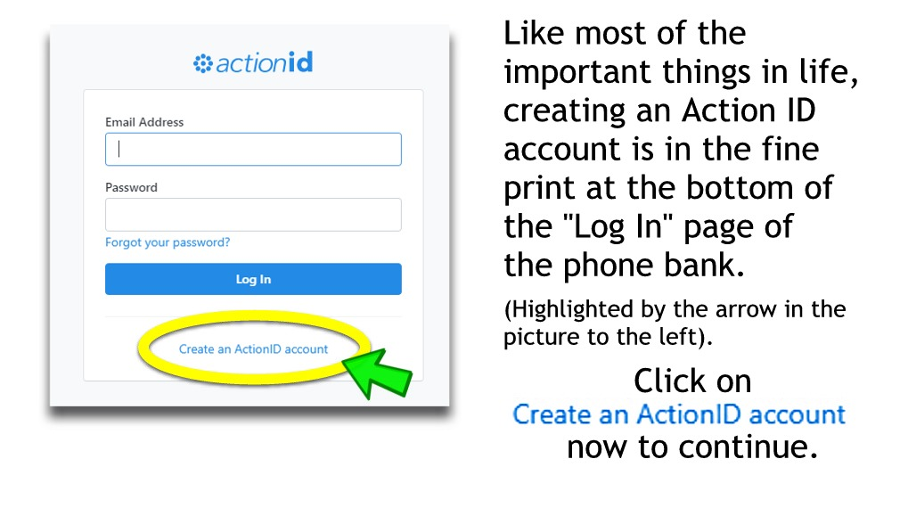 """Click on """"Create an ActionID account"""""""