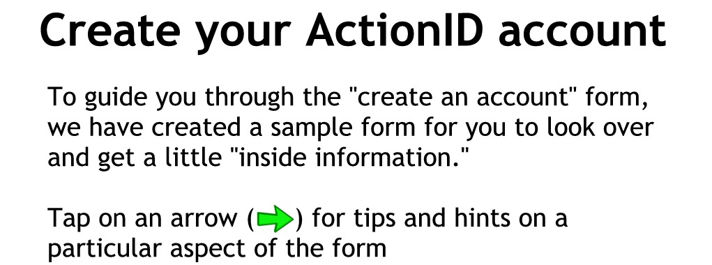 Tap the arrows on the saple form below for explanation