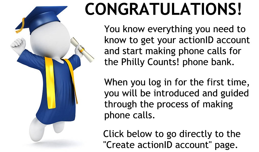 Congratulations You are ready to get your ActionID account