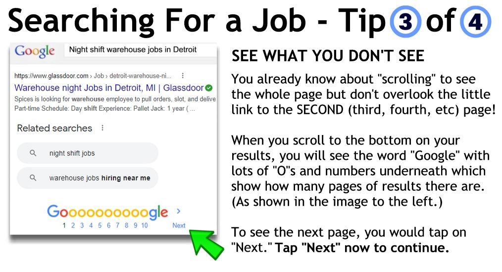 Searching - check for more pages of results at the bottom of the page