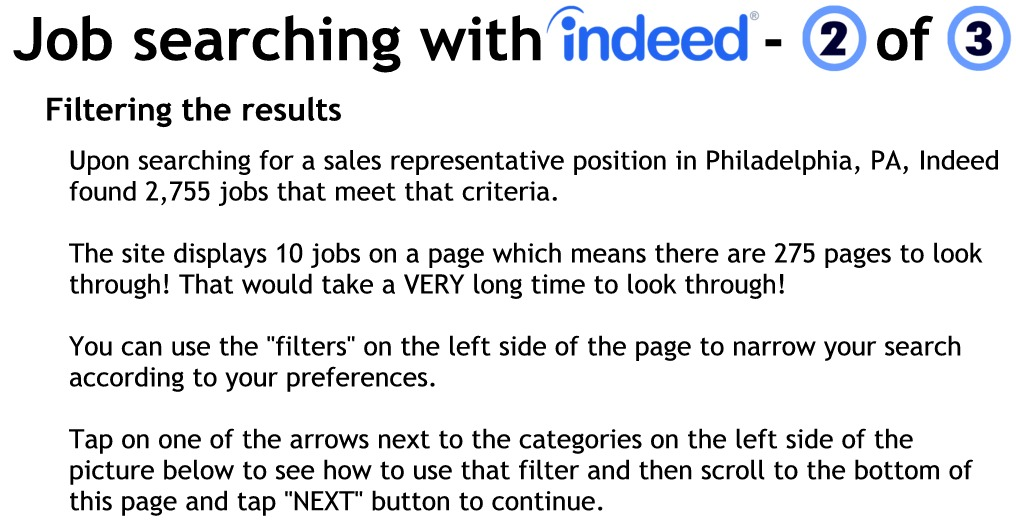 Use the filters on the left side of the page to refine your results list